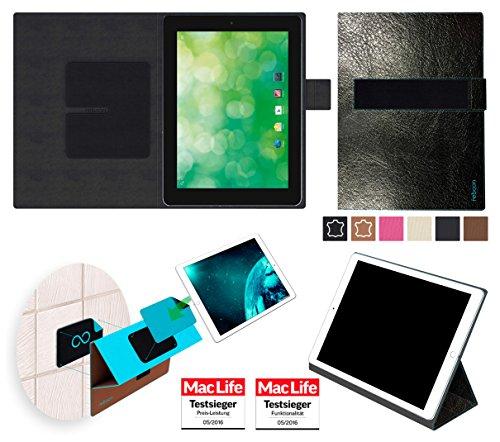 reboon Hülle für Blaupunkt Endeavour 1000 QC Tasche Cover Case Bumper | in Schwarz Leder | Testsieger