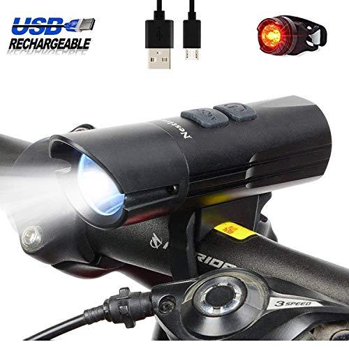 USB Wiederaufladbare LED-Front Taschenlampe Wasserdicht Hell 1000 Lumen, 6 Modi