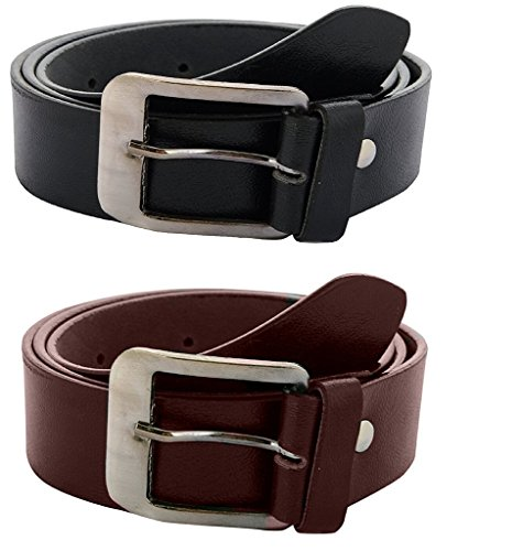 Krystle Men's Combo of 2 Belts Black & Brown  available at amazon for Rs.175