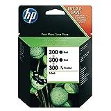 HP 300 Combo Pack SD518AE Confezione da 3 Cartucce, 2 Nero e 1 Colore, Compatibile con Stampanti a Getto d'Inchiostro DeskJet D2560, D2660, F4280, F4224, F4283 e Photosmart Serie C Nero e Tricomia