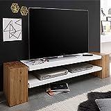 Pharao24 TV Board in Weiß matt mit Eiche Massivholz