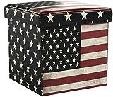 Relaxdays 10019050  Tabouret pliant coffre de rangement pliable banc de stockage avec couvercle amovible 38 x 38 x 38 cm pouf en similicuir repose-pieds table appoint motifs tendances USA