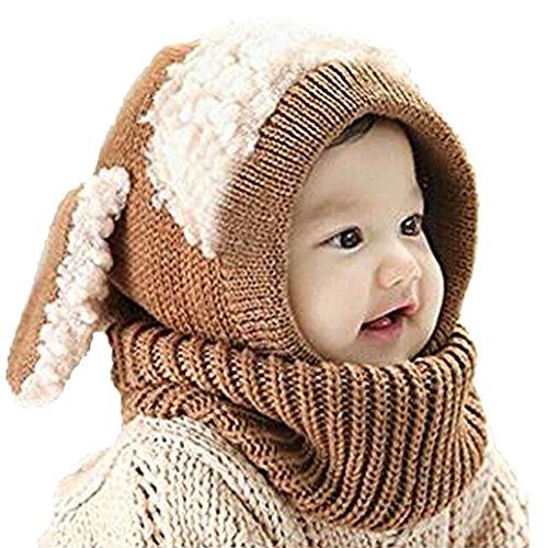 GWELL Baby Stricken Hund Hut Mütze Kapuze Umschlagtuch Schlauchschal Baumwolle Häkelarbeit Winter Herbst Wärmung für Mädchen Jungen Kleinkind khaki