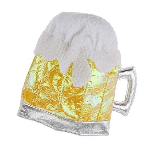 Baoblaze Gold Weiß Lustig Weiche Bier Bierglas Mütze Hut Bierkrug Party Festlichen Oktoberfest Urlaub Kostüm Zubehör