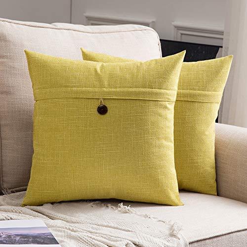 noptik Home Kissenbezüge Dekorative Kissenhülle Leinen Einfarbig Kissenbezug Kissenbezüge für Sofa Schlafzimmer Auto Bed Decor mit Knopf 50x50cm Gelb ()