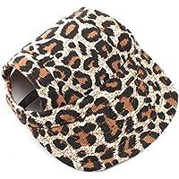 VORCOOL perro sombrero gorra de béisbol con los agujeros de oído para perros pequeños–Talla S (leopardo)