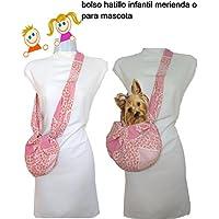 Bolso de niña. ROSA CORAZONES. Regulable desde 2 años. Lavable. También transportin de perro pequeño. Exclusivo y patentado. Lavable