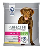 Perfect Fit Hundefutter Trockenfutter Adult für mittelgroße und große Hunde >10kg 1+ reich an Huhn, 4 Beutel (4 x 1,4kg)