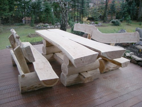 RUSTIKALE SITZGARNITUR AUS NADELHOLZ / Deutsche Handwerksqualität / 2m- Länge / Sitzkapazität für 8 Personen / Jede Sitzgruppe ist ein Unikat / 500 kg