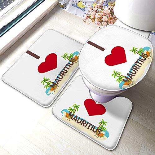 Happy and Ness 3 Stück Bad Anti-Rutsch-Pads Ich Liebe Mauritius Travel Palm Summer Lounge Chair Flache Weiche rutschfeste -