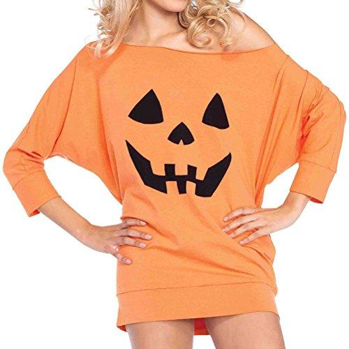 Nlife Frauen Casual Cold Schulter Halloween Kürbis Muster Loose Fit Langarm Shirt Bluse ()