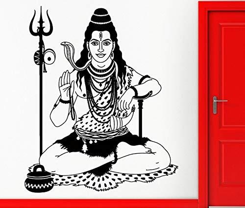 Wandaufkleber, Abnehmbare Schwarze Kobra Indien Indischer Gott Hinduismus Wandbild Kunst Aufkleber Zimmer Wandaufkleber Steuern Dekor Diy Raumdekoration 60X38 Cm