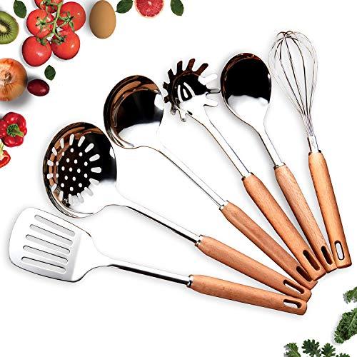 HOMQUEN Juego de utensilios de cocina en madera de haya - Juego de 6 manijas en madera de haya con acero...