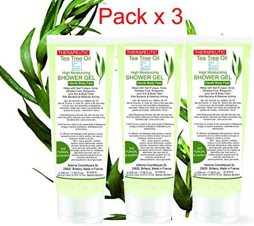 Gels Désinfectant Nettoyant Mains Antibactérien Gel de Douche Purifiant (Pack 3 x 200 ml) Anti mycose à l'Huile Essentielle d'Arbre à Thé - Peau à problèmes Anti Acné