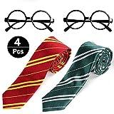 VAMEI 4Pcs School Boy Vestido de Lujo Corbata a Rayas con Gafas de...