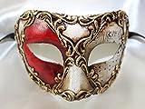 Homme Rouge Or blanc Multicolore Colombina Demi visage Masque pour les yeux vénitien avec notes de musique