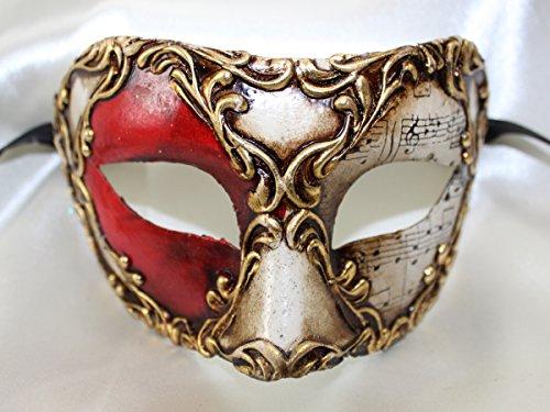 Herren Rot Weiß Gold-Colombina Half Face venezianische Eye Mask mit Music Notes
