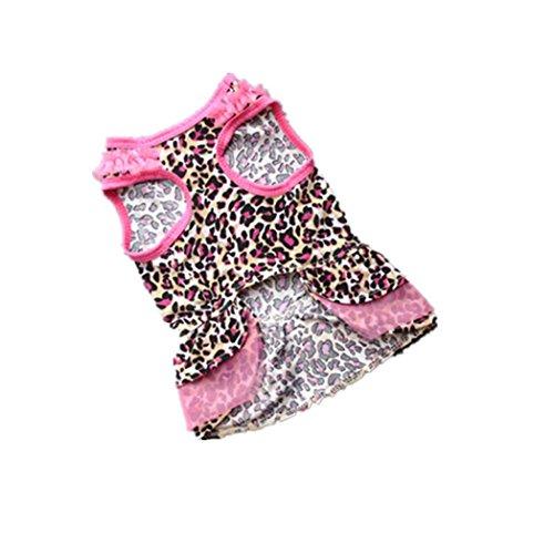 Rawdah Pequeña ropa del animal doméstico del gato del perro del vestido del perrito del animal doméstico del verano del leopardo lindo (S)