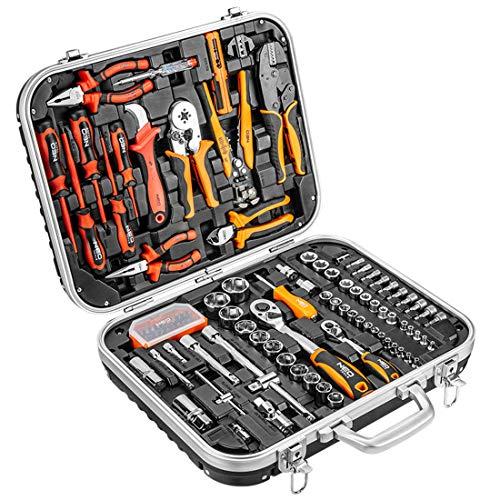 108 tlg Elektriker Werkzeugkoffer bestückt Werkzeugkasten Set Werkzeugkiste Werkzeugset 25 Jahre Garantie