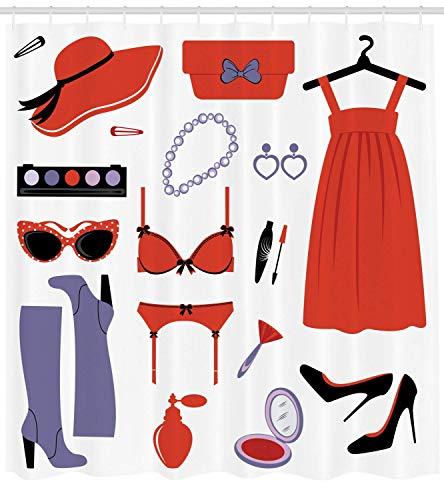 Presock Heels and Dresses Duschvorhang, Glamor Items for Women Attire Sunglasses Lingerie Cosmetics, Fabric Bathroom Decor Set with Hooks, 60 x 72Inch, Coral Lavender Black (Heels Mint-farbigen)