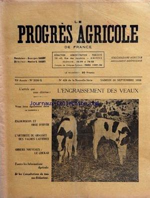 PROGRES AGRICOLE DE FRANCE (LE) [No 3326] du 26/09/1959 - l'engraissement des veaux - escourgeon et orge d'hiver - l'arthrite du grasset des vaches laitieres - gibiers nouveaux , le chukar
