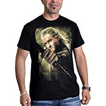 Película de El Hobbit camiseta Legolas con arco Orlando Bloom negro - M