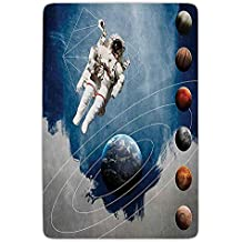 ziHeadwear Bathroom Bath Rug Kitchen Floor Mat Carpet,Outer Space Decor,Planetary Circles with