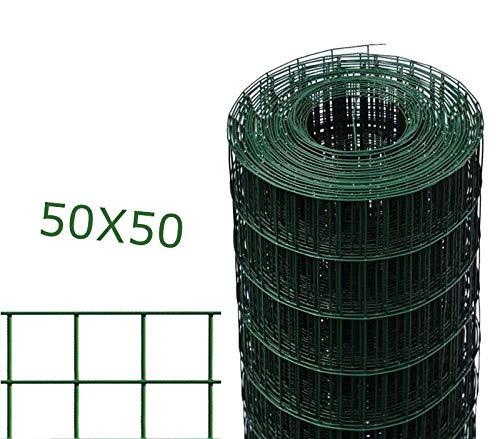 1PZ Rete per recinzione Zincata PLASTIFICATA elettrosaldata in rotolo da 25mt filo mm 2,3 altezza cm 200 H maglia mm 50x50