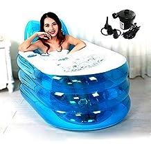 i-shop faltbar Durable Erwachsene Spa aufblasbare Badewanne mit elektrischer Luftpumpe (blau)