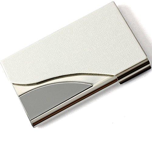 ToBeIT Etui Visitenkarten aus PU Leder und Edelstahl - Visitenkartenetui/Visitenkartenhalter 95 * 58 * 10mm für Herren und Damen (Weiß) (Für Visitenkarten-etui Männer)