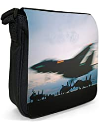 F-14B Tomcat US Navy Plane Lifting Off Small Black Canvas Shoulder Bag / Handbag