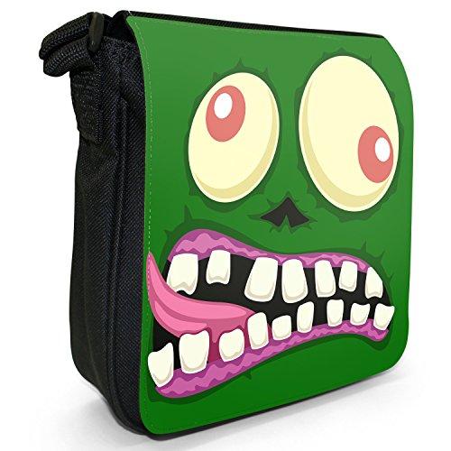 Monster Faces-Borsa a spalla piccola di tela, colore: nero, taglia: S Nero (Zombie Monster Face)