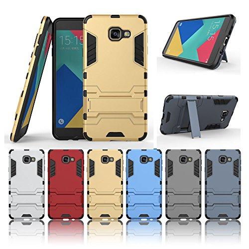 Samsung Galaxy A710 Gehäuse, 2 in 1 Neue Armor Tough Style Hybrid Dual Layer Rüstung Defender PC Hard Cases mit Ständer Stoßfestes Gehäuse für Samsung Galaxy A710 ( Color : Blue Black , Size : A710 ) Gold