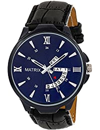 Matrix Silvermine Analog Blue Dial,Black Leather Strap Wrist Watch Day and Date Display for Men & Boys- DD-12