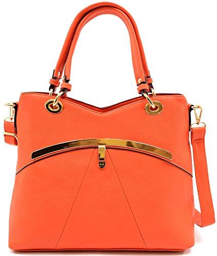 Damenschultertasche/-handtasche aus modischem Kunstleder, geräumig Orange
