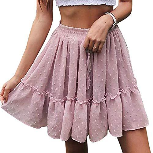 HULKYDamen Kurzes Kleid Sommer Hohe Taille Eine Linie Mini Rock Plissee Rüsche Niedlichen Strandrock(pink,L) -