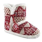 Damen Winter Gestrickt Hausschuhe Stiefel mit Felt Schneeflocken - Rot / Beige, Medium