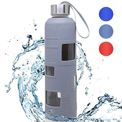 Bottles Empire Glasflasche Trinkflasche Classic Tragbare 550ml BPA-frei für unterwegs Sportflasche Glas Wasserflasche zum Mitnehmen von kalten Getränken mit Neopren Tasche und Schwammbürste (grau)