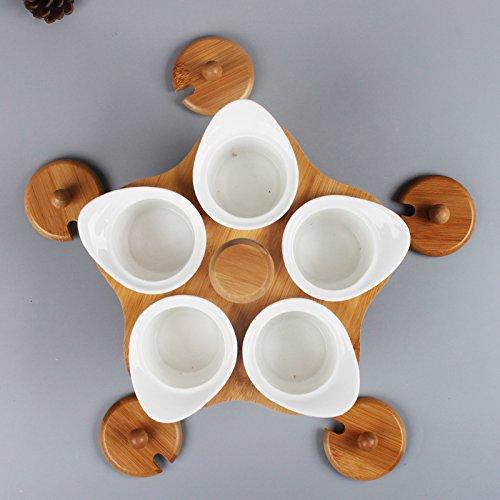 Home Salt Salt Box Condiments Cuisine Créative Peut Set Céramique Piquante Rotative Japonaise Set de 5 Assaisonnements Bouteille de Cuisine Condiment Boîte Sel Pot Sucrier Ensemble,Blanc,Taille uniq
