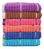 #4: Casa Copenhagen Linea 650 GSM Ribbed Zero Twist Cotton Hand Towel (Multicolour, 40.64 cm x 60.9 cm)-Set of 6 Pieces