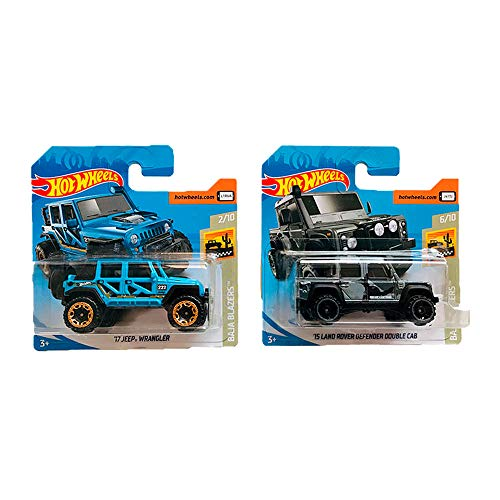 Hot Wheels \'17 Jeep Wrangler & \'15 Land Rover Defender Double Cab Pack 2
