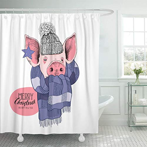 LongTrade Bad Duschvorhang Shower Curtain Christmas Portrait of The Pink Pig in Knitted Cap Waterproof Polyester Fabric Set with Hooks 60