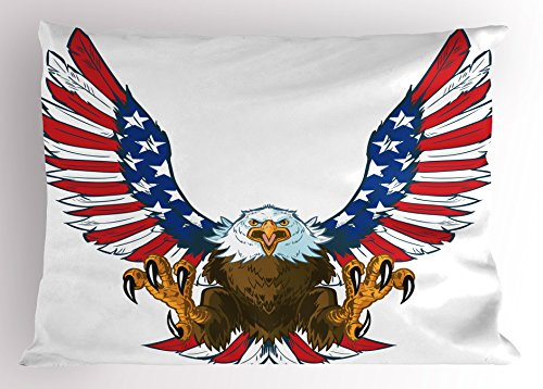 Ambesonne Americana Kissen Sham, Screaming Bald Eagle American Flag Flying, als Spread und Krallen Out Wings, Dekorative Standard Größe Gedruckt Kissenbezug, Multicolor 26