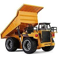 ZMH RC Camiones Juguetes Seis Canales 6CH 1/12 40HMZ Metal Dump Camiones Control Remoto Juguetes RTR con Batería De Carga De Aleación De Camiones
