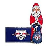 Kleines Weihnachts-Schoko-Fanpaket - Bundle mit Weihnachtsmann (Nikolaus) und Schoko-Tafel aus Fairtrade-Kakao (250 g) (RasenBallsport Leipzig)