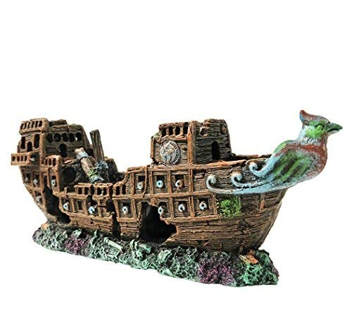 Versunkenes Schiff, 24x 10x 7cm, Dekoration für Aquarien