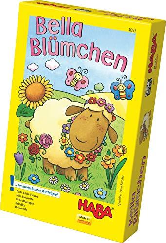Haba 4093 - Bella Blümchen Kunterbuntes Würfelspiel, für 2-4 Kinder von 3-6 Jahren, Brettspiel zum Lernen von Farben und Symbolen