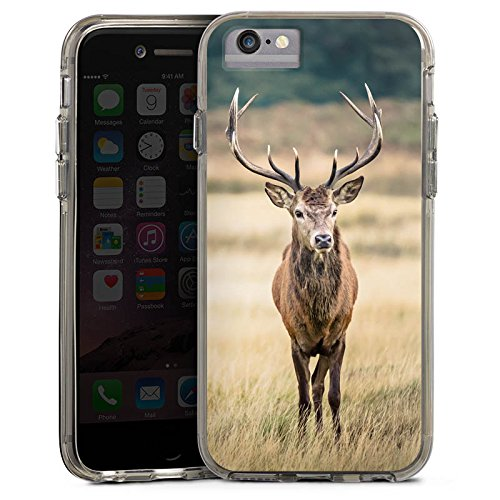 Apple iPhone 6 Bumper Hülle Bumper Case Glitzer Hülle Deer Hirsch Forest Bumper Case transparent grau