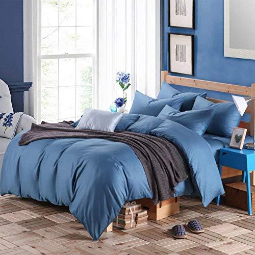 FuweiEncore 300TC Einfachheit Stil Reiner Baumwolle Reine Farbe Vier Satz Bettbezug (1Bettbezug 1 Blatt 2Pillowcase) -A König (Farbe : A, Größe : King) -