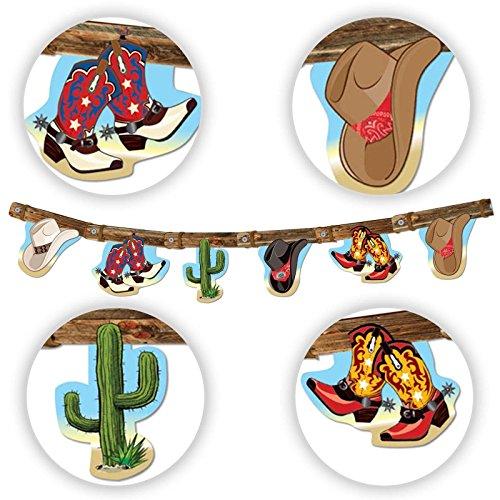 Woody Kostüm Hut - 7ft Cowboy Hat Boots Banner Wimpelkette Wild West Dekoration zum Aufhängen WOODY Party Line Dancing Country Western Decor